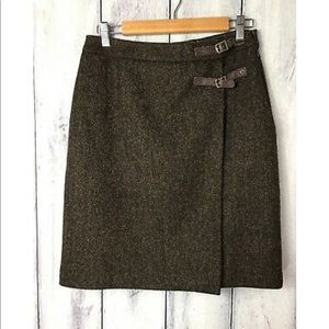 Boden 6L Tweed Skirt British Brown Faux Wrap Front